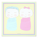 "Double the Joy!  Twin Boy Girl Shower Invitation 5.25"" Square Invitation Card"