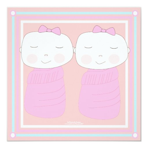 "Double the Joy!  Twin Girl Shower Invitation 5.25"" Square Invitation Card"