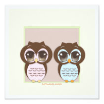 Double the Joy!  Twin Owl Boy Girl Baby Shower Card