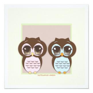 Double the Joy!  Twin Owl Boy Girl Baby Shower Card
