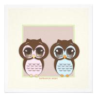 Double the Joy!  Twin Owl Boy Girl Baby Shower Custom Invitations