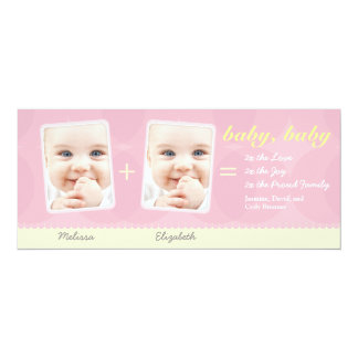 Double the Love Twin Baby Announcement: Pink Card