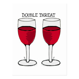 DOUBLE THREAT RED WINE PAIR PRINT POSTCARD