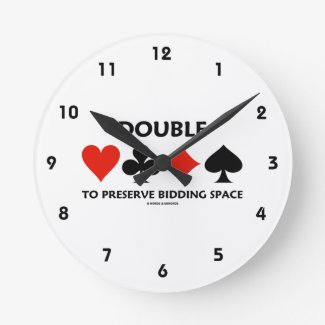 Double To Preserve Bidding Space (Card Suits) Wall Clock