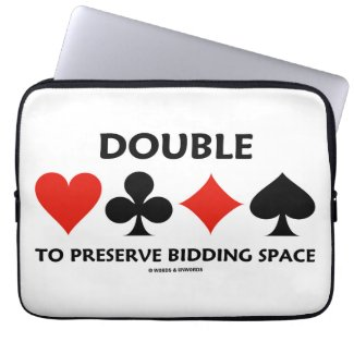 Double To Preserve Bidding Space (Card Suits) Laptop Computer Sleeves