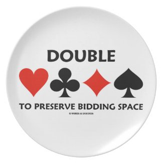 Double To Preserve Bidding Space (Card Suits) Party Plates
