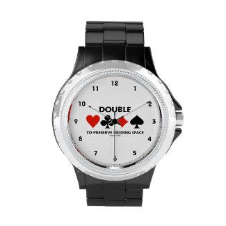 Double To Preserve Bidding Space (Card Suits) Wristwatches