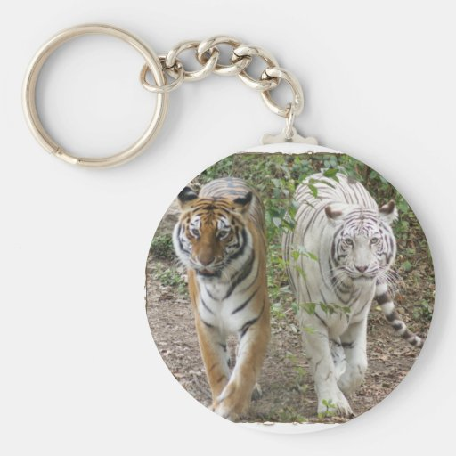 DOUBLE TROUBLE 2 TIGERS ORANGE/WHITE KEYCHAINS