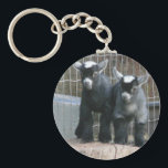"Double Trouble Keychain<br><div class=""desc"">Pygmy goat kids looking like they&#39;re up to something!</div>"
