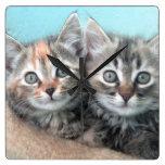 Double Trouble Kitten Clock