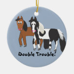 Double Trouble! Double-Sided Ceramic Round Christmas Ornament