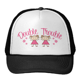Double Trouble Pink Girl Trucker Hats