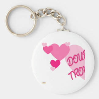Double Trouble Pink Hearts Part 1 Basic Round Button Keychain