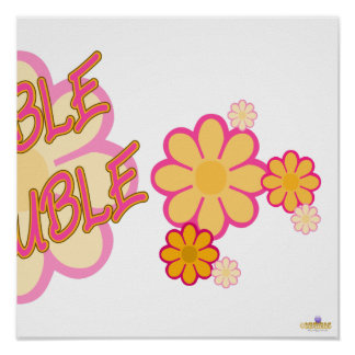 Double Trouble Pink Orange Flowers Part 2 Posters