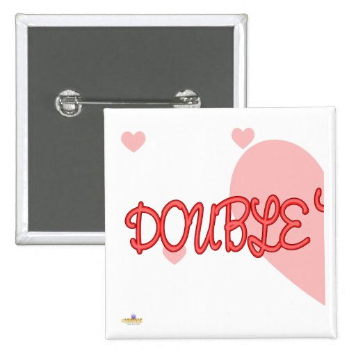 Double Trouble Red Lt Hearts Part 1 2 Inch Square Button