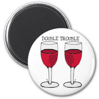 DOUBLE TROUBLE RED WINE PAIR PRINT MAGNET