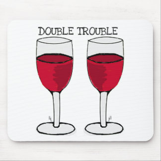 DOUBLE TROUBLE RED WINE PAIR PRINT MOUSE PAD