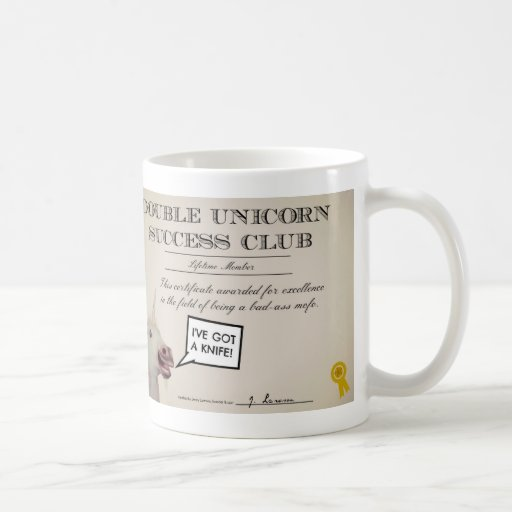 Double Unicorn Success Club Mug. Drink awesome. Classic White Coffee Mug