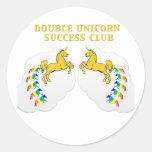 Double Unicorn Success Club Round Sticker