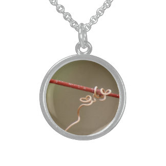 Double Vine Heart Round Pendant Necklace
