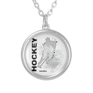 Double Vision Hockey (male) Round Pendant Necklace