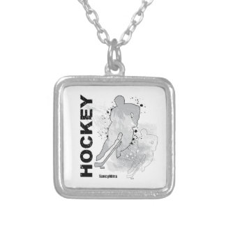 Double Vision Hockey (male) Square Pendant Necklace