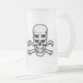 Double Vision Skull Frosted Glass Beer Mug