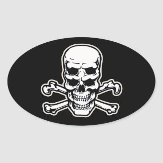 Double Vision Skull Oval Sticker