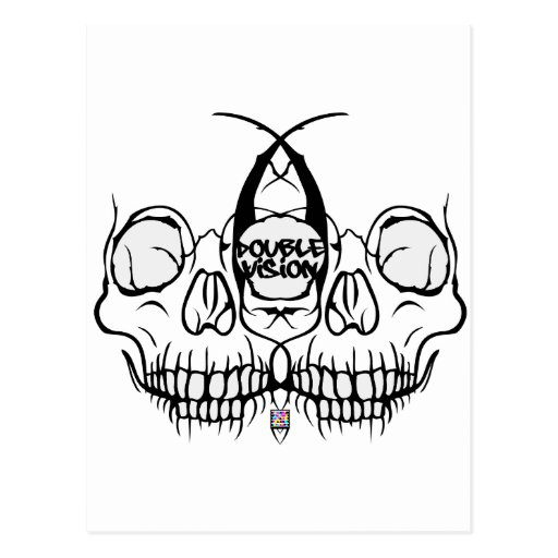 Double Vision Skull Post Card