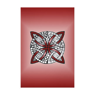 Double Wedding Ring Or Celtic Knot Pattern Red Canvas Print