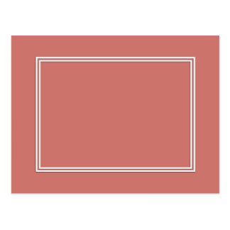 Double White Pin line Drop Shadow on Camellia Pink Postcard