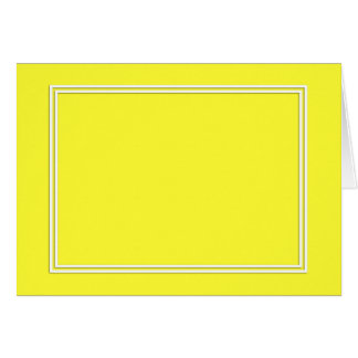 Double White Pin line Drop Shadow on Lemon Yellow Stationery Note Card