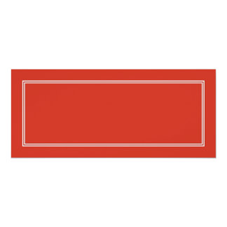 Double White Shadowed Border on Dahlia Red 4x9.25 Paper Invitation Card