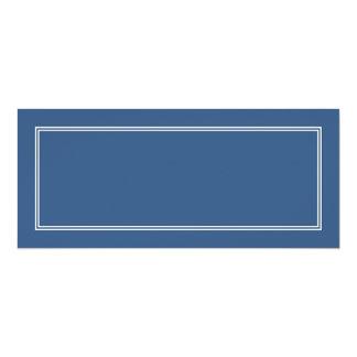 Double White Shadowed Border on Iris Blue 4x9.25 Paper Invitation Card