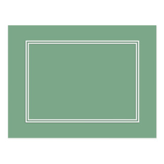 Double White Shadowed Border on Moss Green Postcard