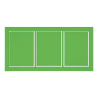 Double White Shadowed Border on Spring Leaf Green Card