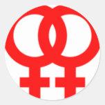 Double Women Symbols Classic Round Sticker
