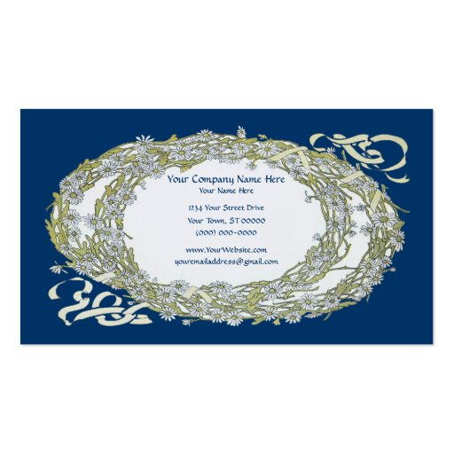 Double Wreath Ornate Sophisticated Business Cards