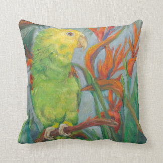 Double yellow head Amazon with Bird of Paradise Throw Pillow