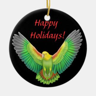 Double Yellow Headed Amazon Parrot Holiday Ornamen Christmas Tree Ornaments
