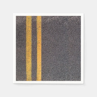 Double Yellow Road Lines Paper Napkins