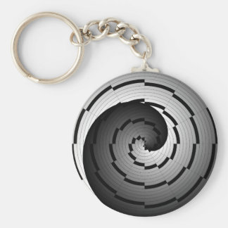 Double Yin Yang Spiral by Kenneth Yoncich Keychain