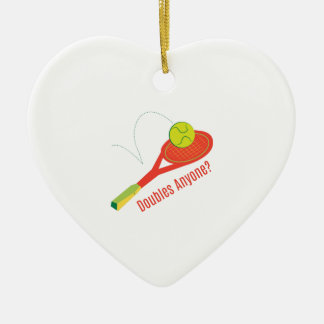 Doubles Anyone? Double-Sided Heart Ceramic Christmas Ornament