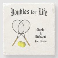 Doubles for  Life Tennis Wedding Coaster