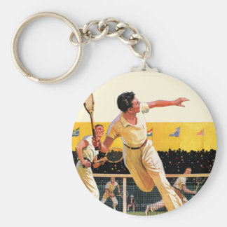 Doubles Tennis Match Keychain