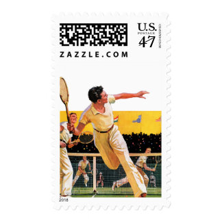 Doubles Tennis Match Postage Stamp