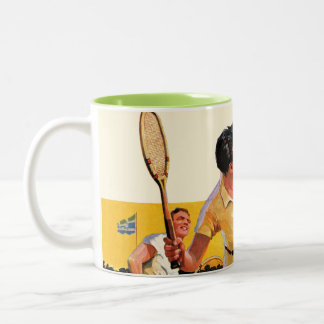 Doubles Tennis Match Two-Tone Coffee Mug