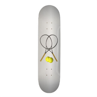 Doubles Tennis Sport Theme Silver Skateboard