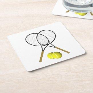 Doubles Tennis Sport Theme Square Paper Coaster