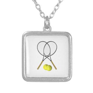 Doubles Tennis Sport Theme Square Pendant Necklace